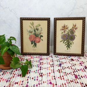 Vintage 50s French Botanical Floral Framed Prints